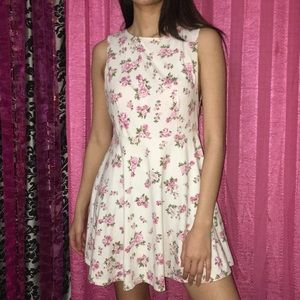 White Pink Floral Dress Backless Spring Casual